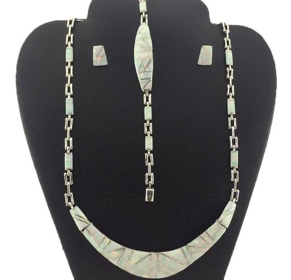 Juego Collar Pulsera Aretes De Plata925 Con Piedra Opalo J11