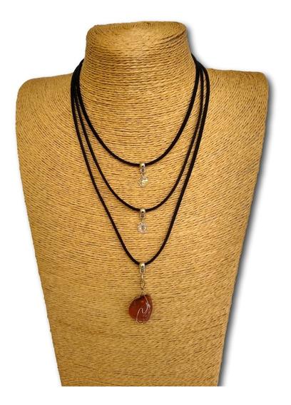 Colar De Pedra Natural Jaspe Madeira Ref: 7757