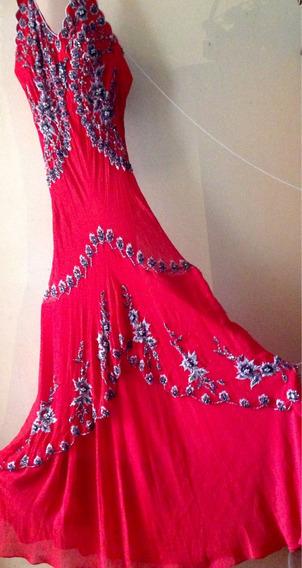 Vestido De Fiesta, Largo,rojo, Luce Sexy Y Sobrio