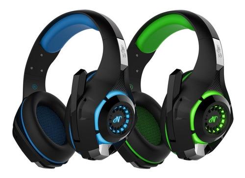 Auricular Gamer Nisuta Nsaug300l Negro / Azul Luz Led Ps4 Pc