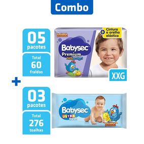 Combo 5 Pcts Fralda Babysec Premium Xxg + 3 Pcts Toalha Umed