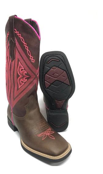 Bota Texana Feminina Country Vimar Couro Rosa Com Marrom