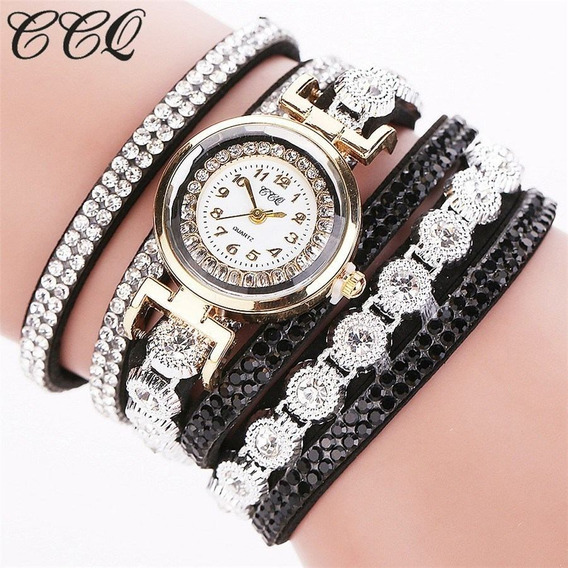 Relógios Quartz De Pulso Luxo Pulseira De Strass Cristal