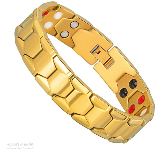 Pulseira Magnética Bracelete Aço Titânio Ouro 18k 18mm Unise