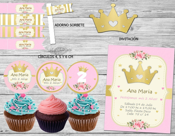 Kit Imprimible Corona Dorada Nena Princesa Candy Bar Coronit