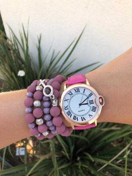 Relógio Rosa Pink Luxo Com Pulseiras E Caixa
