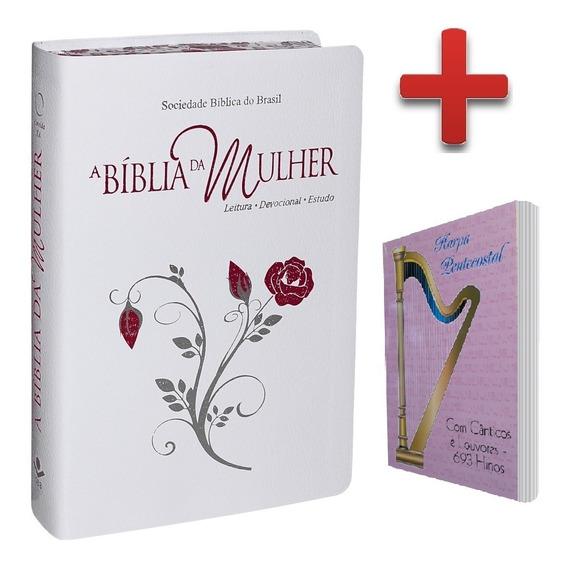 Bíblia De Estudo Mulher Bordas Floridas Capa + Harpa Pequena
