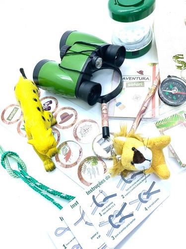 Imagem 1 de 10 de Kit Explorador Aventura Safari Binoculo Lanterna Eco Bag