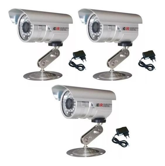 3 Cameras De Segurança Analógica Cftv 36 Leds