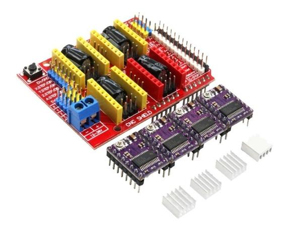 Kit Cnc Shield V3 + 4 Driver Drv8825 Com Dissipador