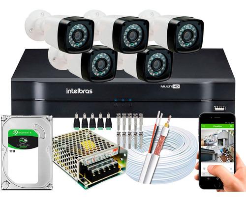 Kit 5 Cameras Segurança 1080p Full Hd Dvr Intelbras 8ch 1108