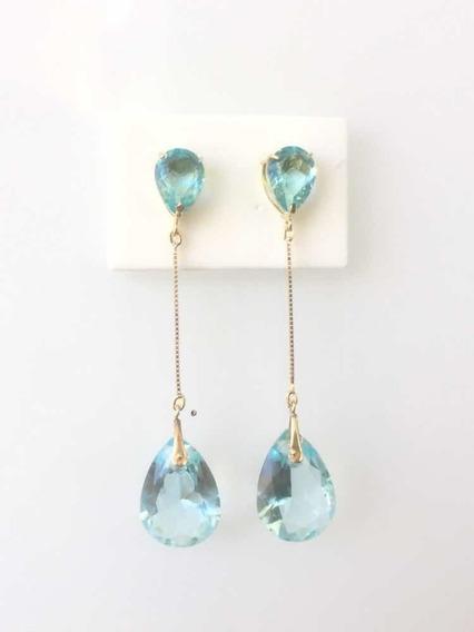 Brinco Em Ouro 18k, 750 Corrente E Pedras Cor Topázio Azul