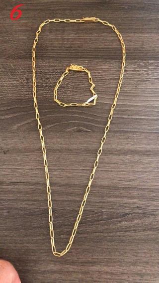 Corrente 70cm+pulseira Banhado A Ouro 18k Meia Cana