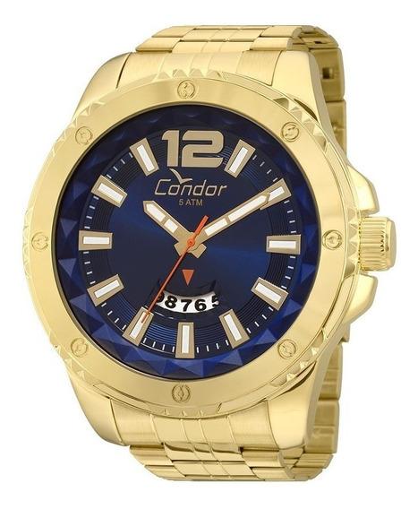 Relógio Condor Masculino Dourado Azul Barato Original Nfe