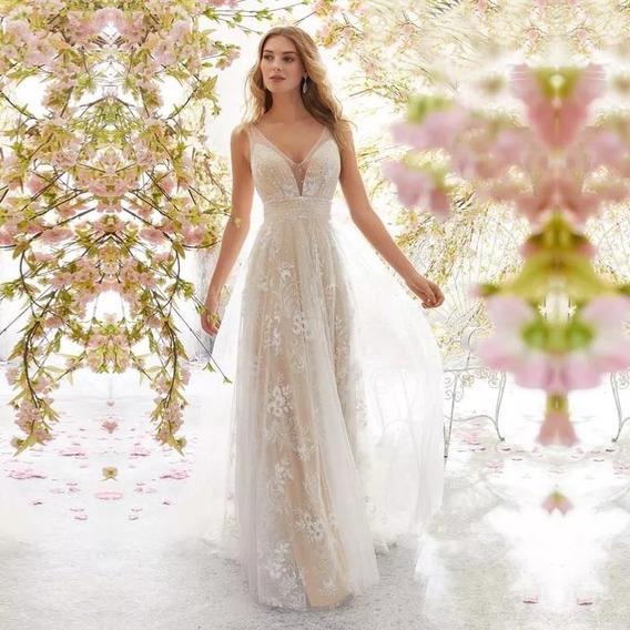 Vestido De Fiesta Largo Casamiento Quince Tul Bordado Impor