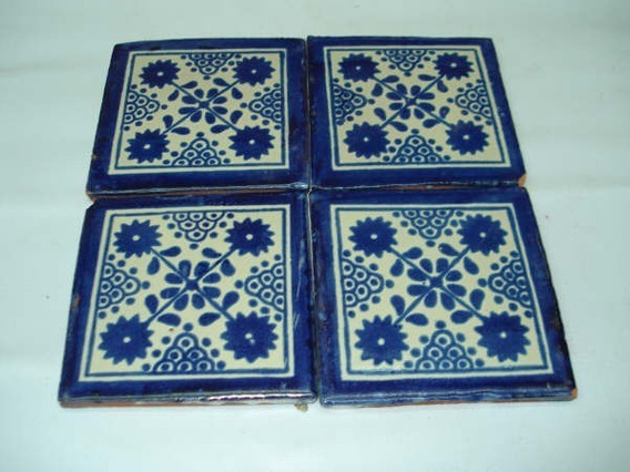 Pack de 25 Azulejos Mexicanos Artesanales de Talavera de 10.5cm Arte Mexicano
