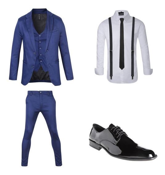 Zapatos De Vestir Hombre Con Traje Satinado Corbata Y Tirador Import