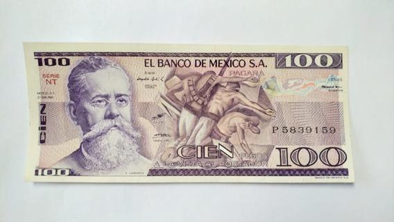 Billete De $100 Pesos Mexicanos Carranza 1974 - 1982