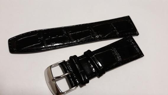 Pulseira Jean Di Vernier De Couro Tipo Croco 24mm Preta