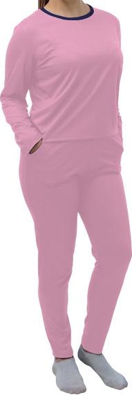 Roupa De Dormir Pijama Feminino Blusa Manga Comprida E Calça