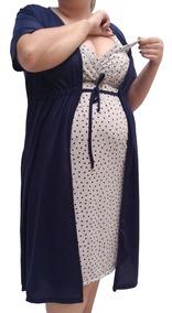 Gestante Plus Size Jg Camisola E Robe Maternidade N026