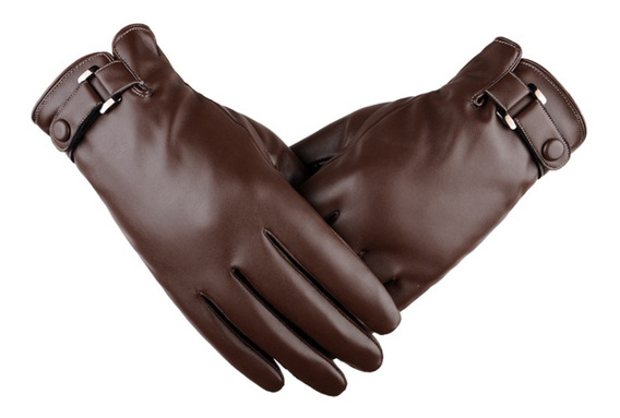 Guantes Delgados Tipo Piel Para Hombres, Ajustable-marrón