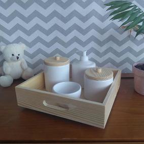 Kit Higiene Pinus 5 Peças Ceramica Madeira Porcelana Luxo