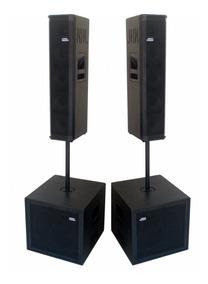 Kit Sonorização Ativo 4 Caixas Sub Line Array 2600w Novo Mod