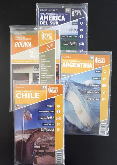 Kit Com 4 Mapas (argentina, Chile, América Do Sul E Bolivia)