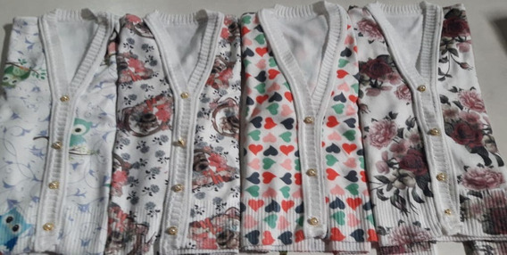 Kit 4 Cardigans Infantil Em Elastano Estampados