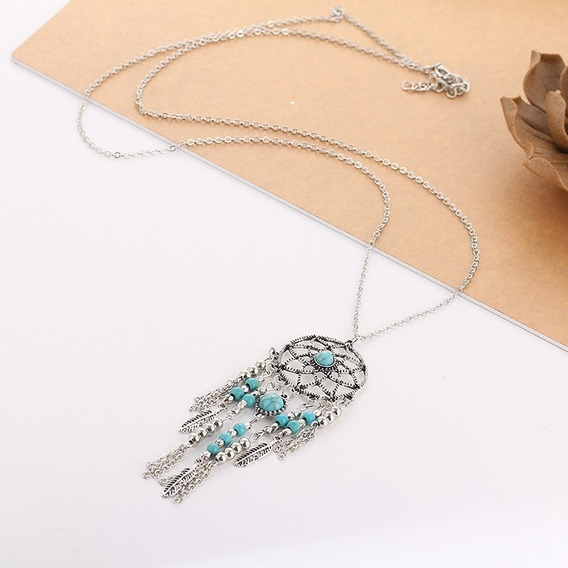 Colar Indiano Pedra Azul Fashion