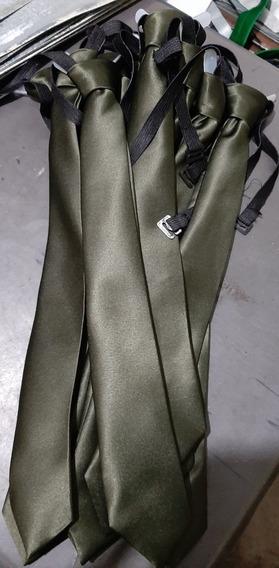 Corbata Verde Militar Escolar Con Resorte. Todos Los Colores