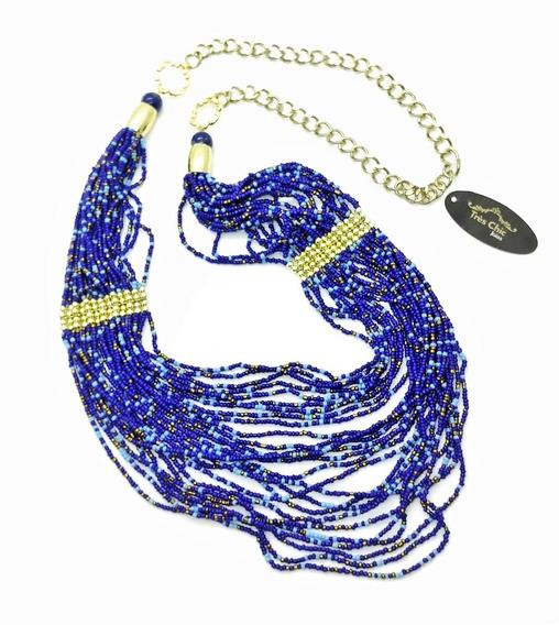 Maxi Colar Contas Azuis E Detalhes Dourados 2108