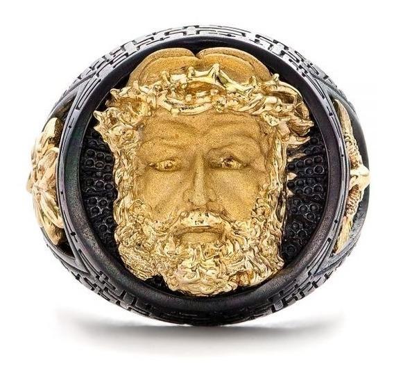 Anel Masculino Religioso Cristo Dourado Ouro 14k