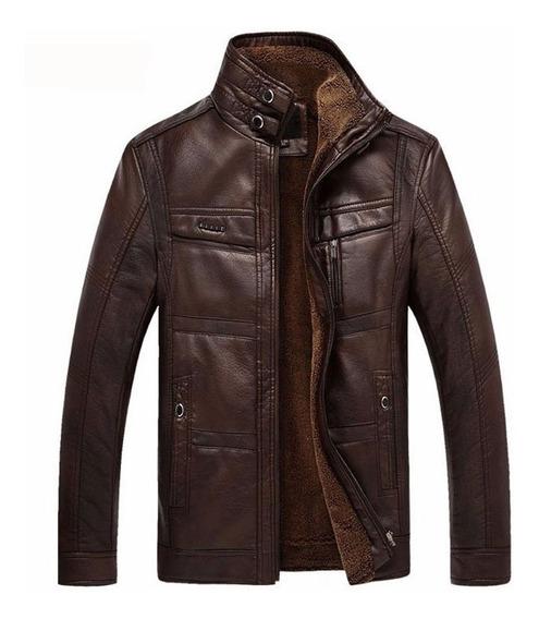 Jaqueta De Couro Pu Masculina Motoqueiro Para Frio