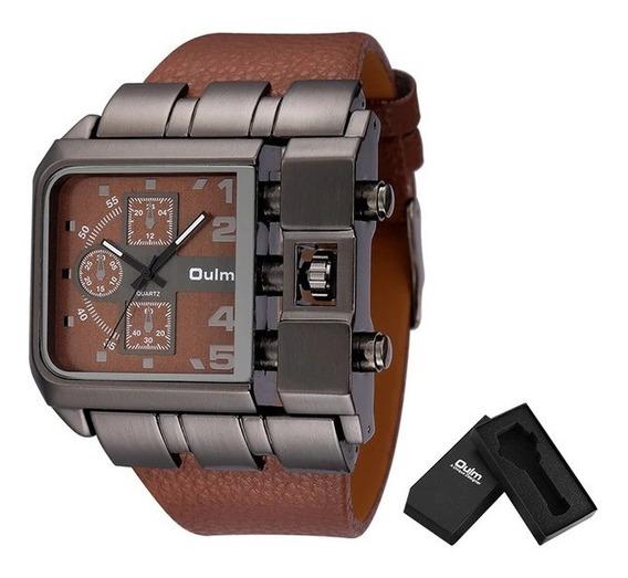 Relógio De Quartzo Masculino - Quadrado - Pulseira De Couro