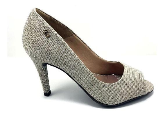 Sapato Feminino Peep Toes Renata Mello Galaxy Ouro Light