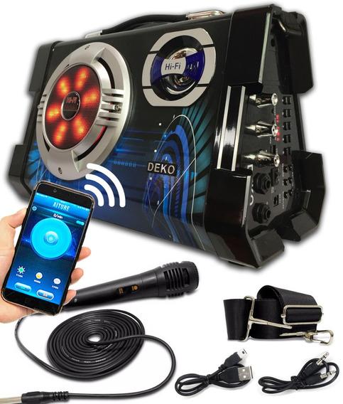 Caixa De Som Amplificada Com Bluetooth Usb Mp3 Sd Mic 6em1