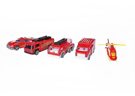 Conjunto De Veículos Die Cast - Pack 5 Veículos De Resgate -