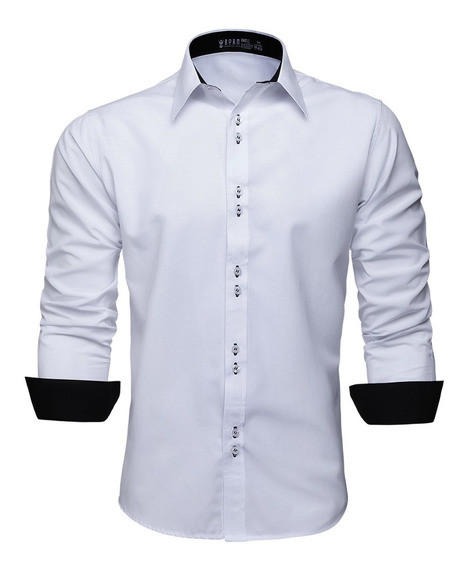 Camisa Social Masculina Manga Longa Slim Blusa Camiseta Wel