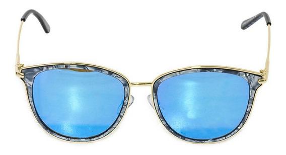 Óculos De Sol Feminino Armação Efeito Marmorizado Lente Azul