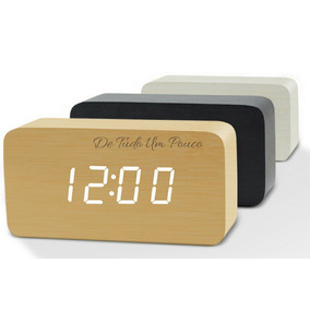 Relógio Digital Led Despertador Madeira Bambu Oferta!!!