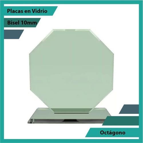 Placas Conmemorativas En Vidrio Octagono Plano