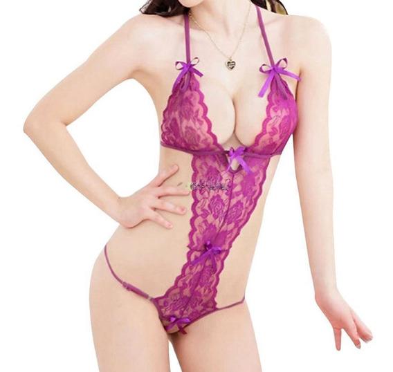 Baby Doll Erotico Renda Body Sex Shop Sensual Cor Roxo