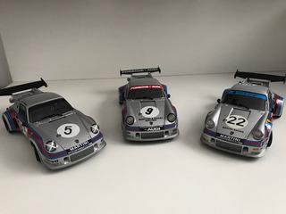 Miniatura Autoart Porsche Rsr Martini 1/18 Set Com 3 Raro!!