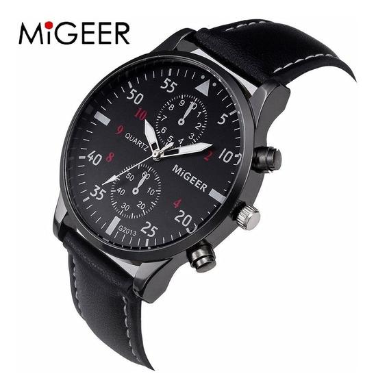 Relógio Megeer Luxo Pulseira Preta Top Couro Brinde Estojo