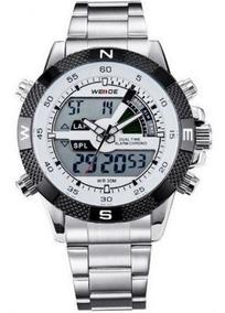 Relógio Masculino Weide 1104 Cronografo Digital Prata Origin