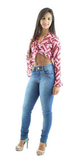 Calça Jeans Feminina Lisa Slim Azul Anagrom Ref.1007