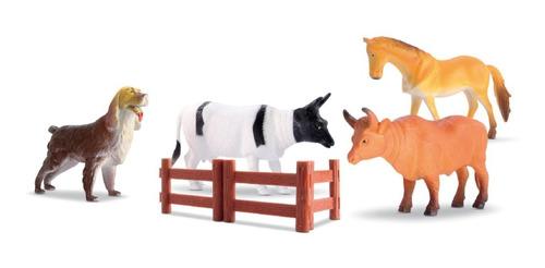 Kit Animais Da Fazenda Medio 16cm 07 Pcs - Meninos Brinquedo
