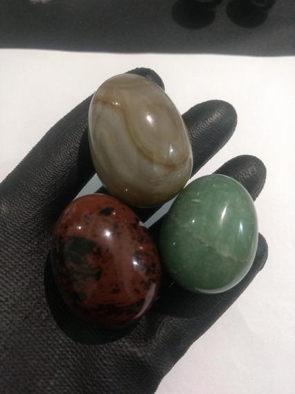 3 Ovos : Agata,verde E Obsidiana Mogno Kit 03